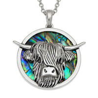 "Highland Cattle Necklace Paua Abalone Shell Pendant Silver Fashion Jewellery 18"""