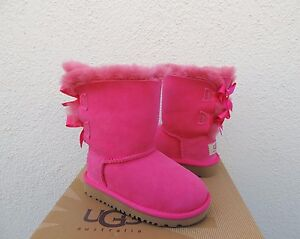 UGG CERISE PINK BAILEY BOW SHEEPSKIN BOOTS, TODDLER GIRL US 7/ EUR 23.5  ~NEW