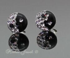 REAL SOLID 925 STERLING SILVER BLACK WHITE YIN YING YANG STUD CRYSTAL EARRINGS