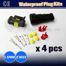 4x Kits 1.5MM 2 WAY Waterproof Auto Marine Electrical Sealed Wire Connector Plug