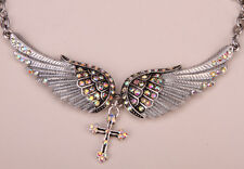 Angel wing cross choker necklace biker fashion jewelry silver NC01 gift for mom