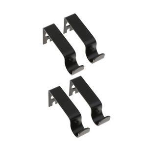 "4Pcs Black Adjustable Drapery Curtain Rod Wall Bracket Holder for 0.62"" Rod"
