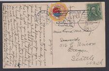 1903 1c stamp Seattle, WA 1909 postcard w/ multicolor Alaska-Yukon Expo label