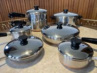 "Revere Ware Copper Bottom 13 Piece 4.5 Qt Stock 3/4,1,2 Qt Sauce Pots 10"" 7"" Fry"