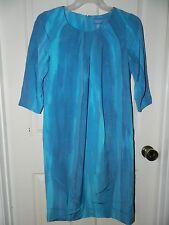 SIMPLY VERA WANG womens Beautiful WATERCOLOR Blue Aqua DRESS* 4