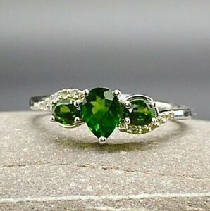 Certified Chrome Diopside White Topaz Sterling Silver Ring S (UK) 9 1/4(US) R510