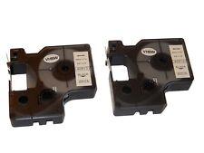 2x RUBAN CASSETTE 9mm N/B pour Dymo LabelMaker PC2, Dymo 1000, 1000+