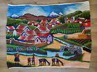 "Peruvian Vintage Village Folk Art Hand Woven Wool Wall Hanging Tapestry 37""x 28"""