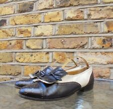 Salvatore Ferragamo Black Cream Tassle Leather Suede Tassle Loafers Shoes UK 6.5