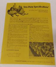 Sno-Pony snowmobile Vintage Spec Sheet