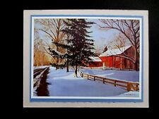 """Vintage AAG Sample Xmas Greeting Card by Mildred Sands Kratz """"End of Day"""" Lovely"""