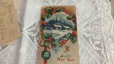Antique Enbossed  Holly winter scene church a joyful New Year Post Card 1910