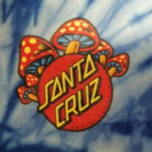 Vintage Santa Cruz Skateboard TShirt TieDye Rare Mushroom 19 shoulder 18 arm Sml