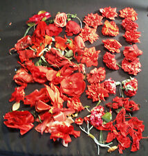 VINTAGE RED MILLINERY FLOWER COLLECTION LOT OF 52 FOR WOMENS HATS & DOLLS
