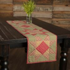 Dolly Star Red Green Quilted Table Runner 13x48 Country Farmhouse Holiday Decor