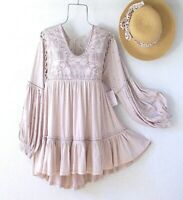 New~$148~Taupe Beige Peasant Blouse Crochet Lace Tunic Ruffle Boho Top~Large L