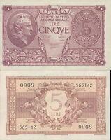 REGNO D'ITALIA @FIOR DI STAMPA ASSOLUTO 5 LIRE ATENA ELMATA DEC.23/11/1944