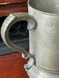 19thC JAMES YATES PEWTER MUG 1/2 PINT