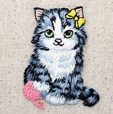 Gray Cat/Kitten Yellow Bow/Pink Yarn Ball/Pet Iron on Applique/Embroidered Patch