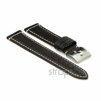 StrapsCo Genuine Leather Premium Padded Leather Watch Band Strap in Black