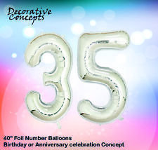 """Giant 35th Birthday Party 40"""" Foil Balloon Helium Air Decoration Age 35 SILVER"""