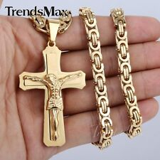 Men Chain Silver Gold Cross Jesus Byzantine Stainless Steel Pendant Necklace HOT