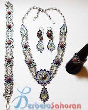 Beautiful Algerian Berber Jewellery set in pure dark silver, enamel and Mediterr