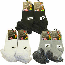 GIRLS 3 PAIRS lace top frilly  ANKLE TRAINER SOCKS SCHOOL SIZE 4-20 years