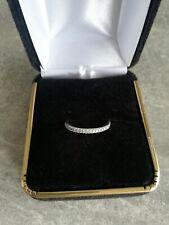 Half Eternity Diamond Platinum Wedding Band Ring Thin Dainty 1.3mm Size H / I