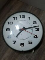 "Vtg 15"" Simplex Industrial Clock Round Glass Metal School untested 2310-9250"