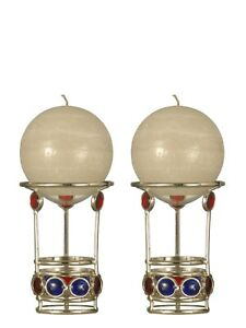 MS0023 -Dale Tiffany 2-Piece Red and Blue Gem-Piece Candle Holder set