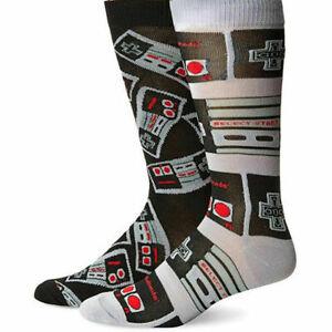 2 Pair Nintendo NES Controller Crew Socks - Men's Shoe Size 6.5-12 - New