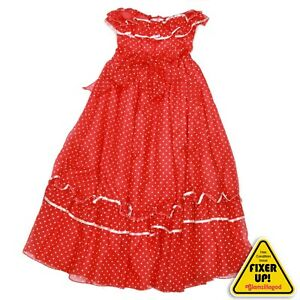 Gunne Sax Vintage Dress Red White Polka Dot Prairie Party size 13