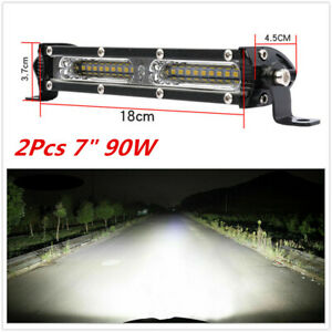 "2Pcs 7"" 90W Car Spot Beam+Flood Beam Combo LED Work Light Bar Offroad Truck Boat"
