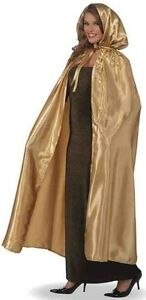 Long Gold Hooded Cape Masquerade Fancy Dress Gown Unisex Mens Womens Adult NEW