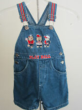 Toddlers 12m Baseball Overall Jean Shorts Boy Girl Jumper Children Kid Euc Denim