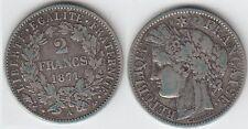 Gertbrolen 2 Francs Argent type Cérès 1871 Paris Grand A Exemplaire Numéro 4