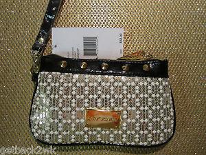 NEW WRISTLET MINI HANDBAG BETSEY JOHNSON $58 Retail Sequins Gold White
