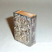 Vintage 1930's Kirk & Son Floral Relief Sterling Match Box Safe Hold