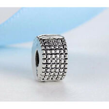 Silver Plated BEAD SPACER Clip Stopper Charm Fits European brand bracelets