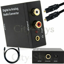 Digital Optical Coax Coaxial Toslink to Analog RCA L/R Audio Converter Adapter