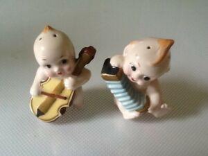 Vintage kewpie doll salt & pepper set ceramic - musicians