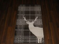 NEW MAT/RUG NOVELTY DESIGNS 60CMX110CM BARGAIN STANDING CHECK STAG CREAM/BROWN