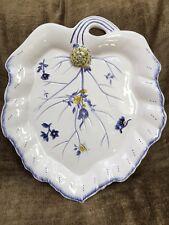 "Spode Imperial Garden Leaf Shaped Serving Platter Chop Plate w/ Snail 14"""