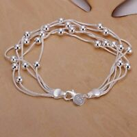 "18K White Gold Plated Bubble Bracelet with 7.8"" 925 Silver Chains Women's Gift"