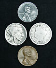 Liberty V Nickel (4) Lot - Buffalo Steel Wheat Lincoln Cent Mixed Old US Coins