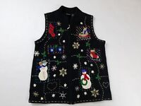 Erika Womens Christmas Sweater Vest SIZE SMALL Ugly Christmas Sweater Black Zip