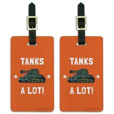 Tanks A Lot Thanks Funny Humor Luggage ID Tags Carry-On Cards - Set of 2