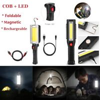 COB LED Hand Torch Lamp Magnetic Inspection Work Light Flexible USB Rechargeable