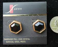 New Original Card Signed SAVVY Goldtone SWAROVSKI Black Crystal Pierced Earrings